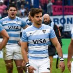 BUENOS AIRES, ARGENTINA - JULY 20: Joaquin Diaz Bonilla and Felipe Ezcurra of Argentina react after losing a match between Argentina and New Zealand as part of The Rugby Championship 2019 at Jose Amalfitani Stadium on July 20, 2019 in Buenos Aires, Argentina.