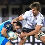 Cobus REINACH of Montpellier and Eben ETZEBETH of Toulon during the Top 14 match between Montpellier and Toulon at GGL Stadium on May 11, 2021 in Montpellier, France. (Photo by Alexandre Dimou/Icon Sport via Getty Images)