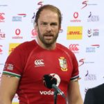 British and Irish Lions' captain and lock Alun Wyn Jones speaks with media representatives after defeat in the third rugby union Test match between South Africa and the British and Irish Lions at The Cape Town Stadium in Cape Town on August 7, 2021. (Photo by PHILL MAGAKOE / AFP) (Photo by PHILL MAGAKOE/AFP via Getty Images)
