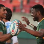 GQEBERHA, SOUTH AFRICA - AUGUST 14: Damian Willemse congratulates try scorer Aphelele Fassi of South Africa during the Castle Lager Rugby Championship match between South Africa and Argentina at Nelson Mandela Bay Stadium on August 14, 2021 in Gqeberha, South Africa. (Photo by Richard Huggard/Gallo Images/Getty Images)