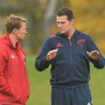 Limerick , Ireland - 30 October 2017; Munster scrum coach Jerry Flannery and Munster director of rugby Rassie Erasmus in conversation during Munster Rugby Squad Training at the University of Limerick in Limerick. (Photo By Diarmuid Greene/Sportsfile via Getty Images)