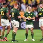 epa09474495 Springboks players react after losing the Round 4 Rugby Championship match between the Australian Wallabies and the South Africa Springboks at Suncorp Stadium in Brisbane, Australia, 18 September 2021. EPA/DARREN ENGLAND