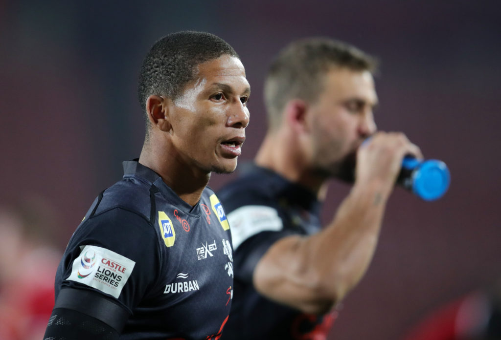 Manie Libbok of the Sharks during the 2021 British and Irish Lions Tour rugby match between the Sharks and BI Lions at Ellis Park, Johannesburg on 07 July 2021