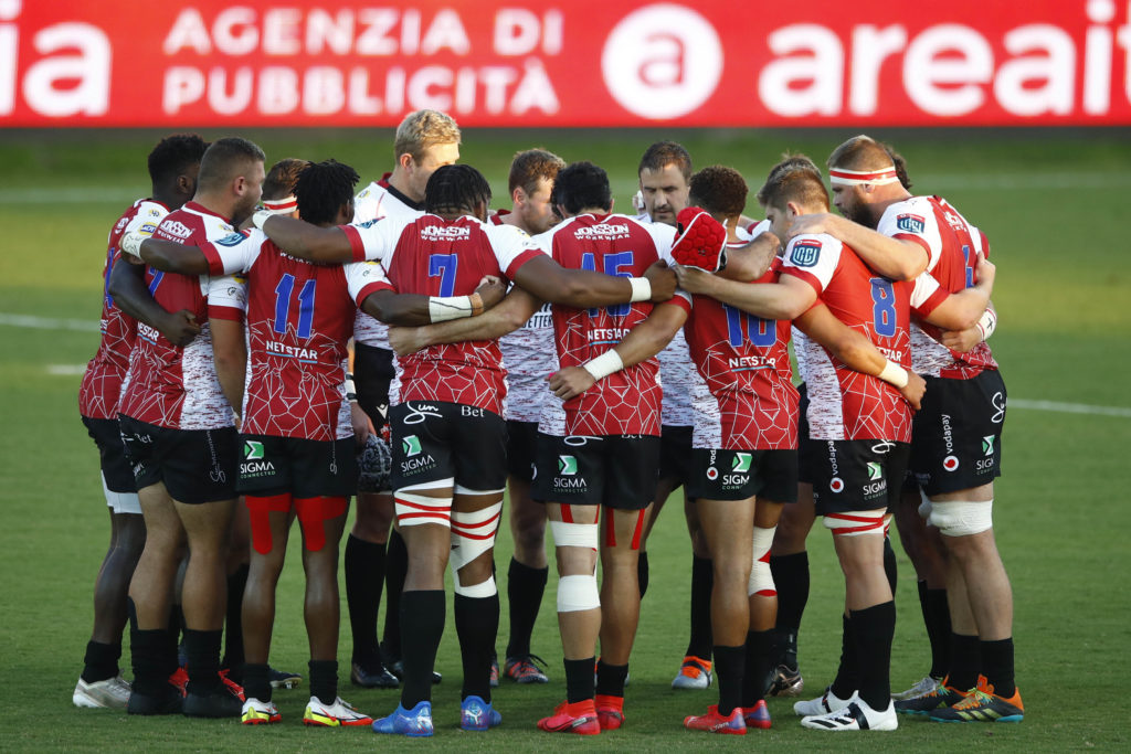 Mandatory Credit: Photo by Matteo Ciambelli/INPHO/Shutterstock (12463378z) Zebre vs Emirates Lions. The Lions team huddle before the game United Rugby Championship, Stadio Sergio Lanfranchi, Parma, Italy - 24 Sep 2021