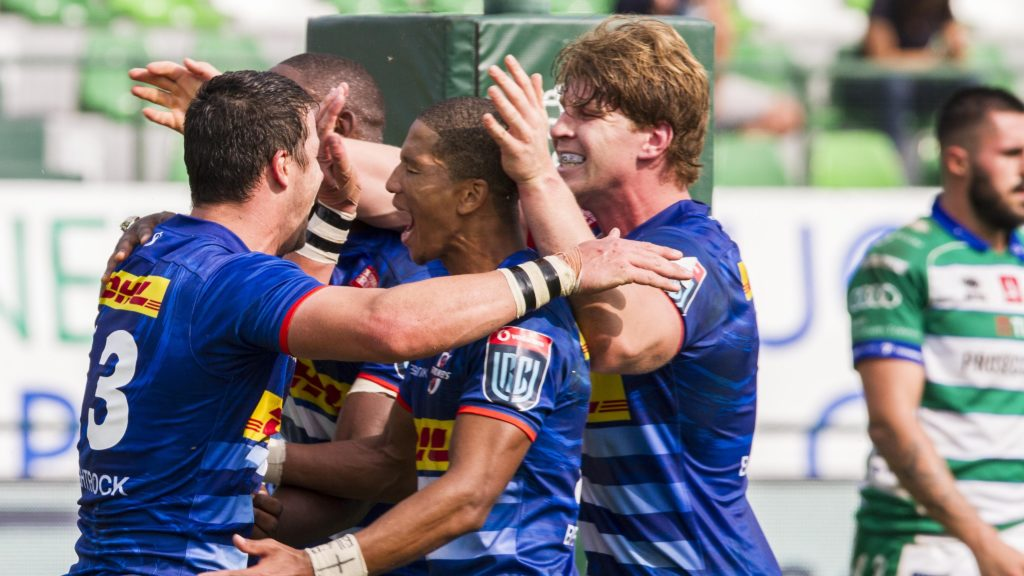 Mandatory Credit: Photo by Alfio Guarise/LiveMedia/Shutterstock (12465598p) Stormers Celebrates try United Rugby Championship match Benetton Rugby vs DHL Stormers, Treviso, Italy - 25 Sep 2021