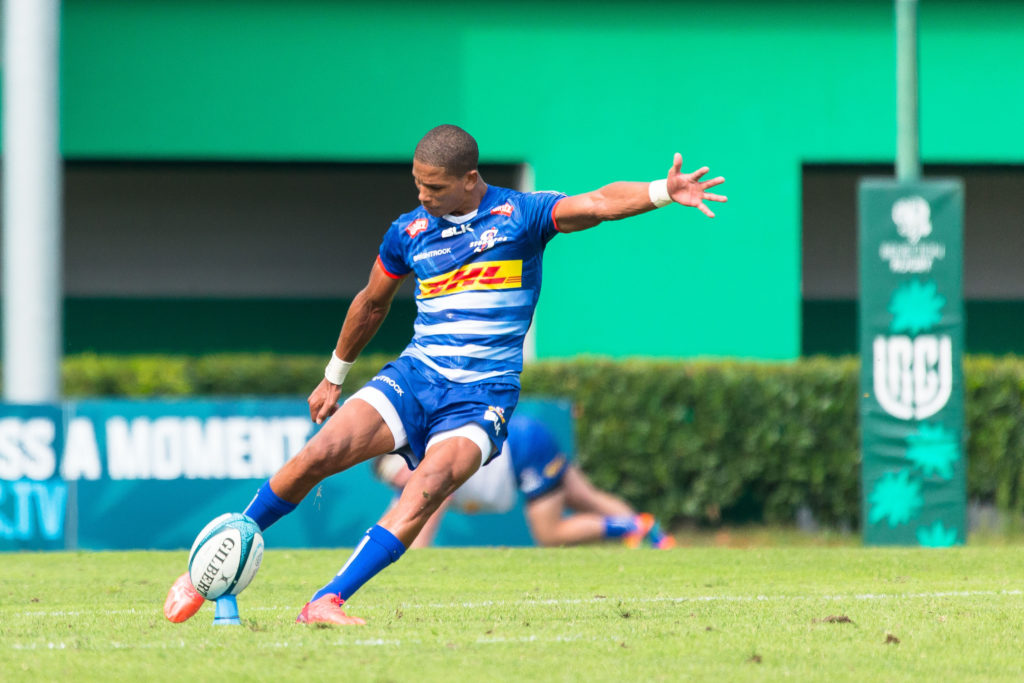 Mandatory Credit: Photo by Mattia Radoni/LiveMedia/Shutterstock (12465618f) Manie Libbok (DHL Stormers) United Rugby Championship match Benetton Rugby vs DHL Stormers, Treviso, Italy - 25 Sep 2021