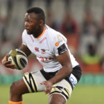 BLOEMFONTEIN, SOUTH AFRICA - OCTOBER 11: Junior Pokomela of the Toyota Cheetahs during the Guinness Pro14 match between Toyota Cheetahs and Munster at Toyota Stadium on October 11, 2019 in Bloemfontein, South Africa.