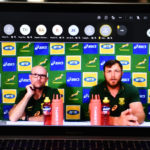 CAPE TOWN, SOUTH AFRICA - SEPTEMBER 21: Springbok coach Jacques Nienaber and Duane Vermeulen during the South African national men's rugby team announcement virtual media conference on September 21, 2021 in Cape Town, South Africa. (Photo by Ashley Vlotman/Gallo Images)