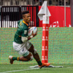 VANCOUVER, BC - MARCH 08: Angelo Davids #1 of South Africa goes in to score in Match #29, South Africa vs USA (Cup QF 1) during the Canada Sevens, Round 6 of the HSBC World Rugby Sevens Series, held on March 8, 2020, at BC Place in Vancouver, Canada.