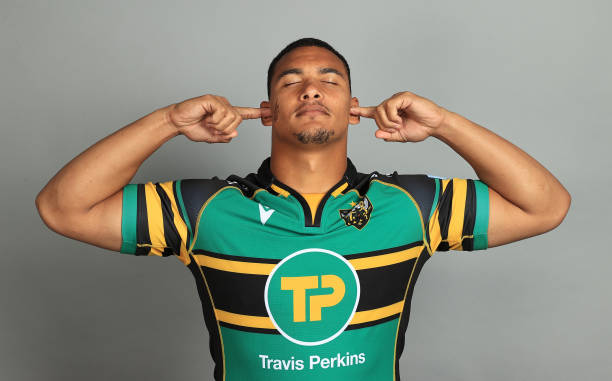 NORTHAMPTON, ENGLAND - AUGUST 26: Juarno Augustus of Northampton Saints poses for a portrait during the Northampton Saints squad photo call for the 2021-22 Gallagher Premiership Rugby season at Franklin's Gardens on August 26, 2021 in Northampton, England.
