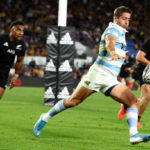 GOLD COAST, AUSTRALIA - SEPTEMBER 12: Santiago Carreras of Argentina kicks the ball through during the Rugby Championship match between the New Zealand All Blacks and Argentina Pumas at Cbus Super Stadium on September 12, 2021 in Gold Coast, Australia.