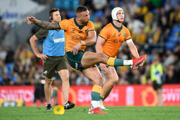 GOLD COAST, AUSTRALIA - SEPTEMBER 12: Quade Cooper of the Wallabies kicks during the Rugby Championship match between the South Africa Springboks and the Australian Wallabies at Cbus Super Stadium on September 12, 2021 in Gold Coast, Australia.