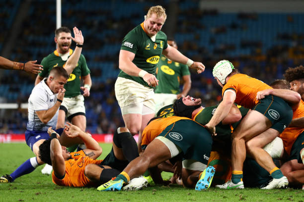 GOLD COAST, AUSTRALIA - SEPTEMBER 12: Malcolm Marx of South Africa scores a try during the Rugby Championship match between the South Africa Springboks and the Australian Wallabies at Cbus Super Stadium on September 12, 2021 in Gold Coast, Australia.