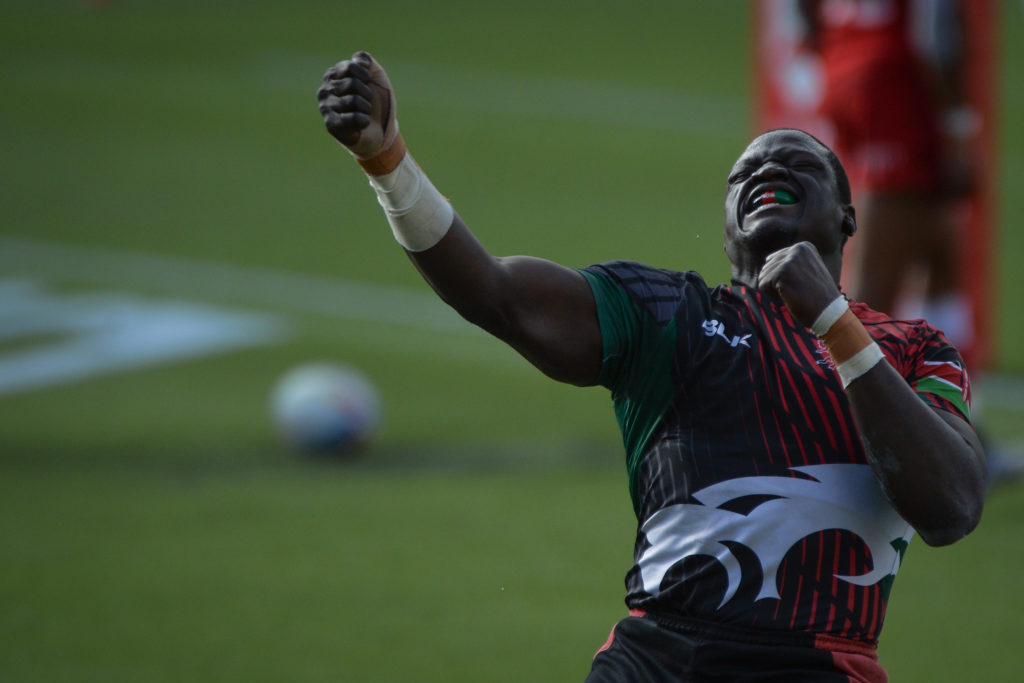 Alvin Otieno of Kenya celebrates after scoring a try during Canada 7S vs Kenya 7S, HSBC World Rugby Seven Series Bronze Final match at the Commonwealth Stadium in Edmonton. On Sunday, 26 September 2021, in Edmonton, Alberta, Canada.