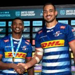 Mandatory Credit: Photo by Ashley Crowden/INPHO/Shutterstock/BackpagePix (12539546at) Dragons vs DHL Stormers . DHL Stormers' Warrick Gelant is presented with the Player of the Match award by Salmaan Moerat United Rugby Championship, Rodney Parade, Wales - 15 Oct 2021