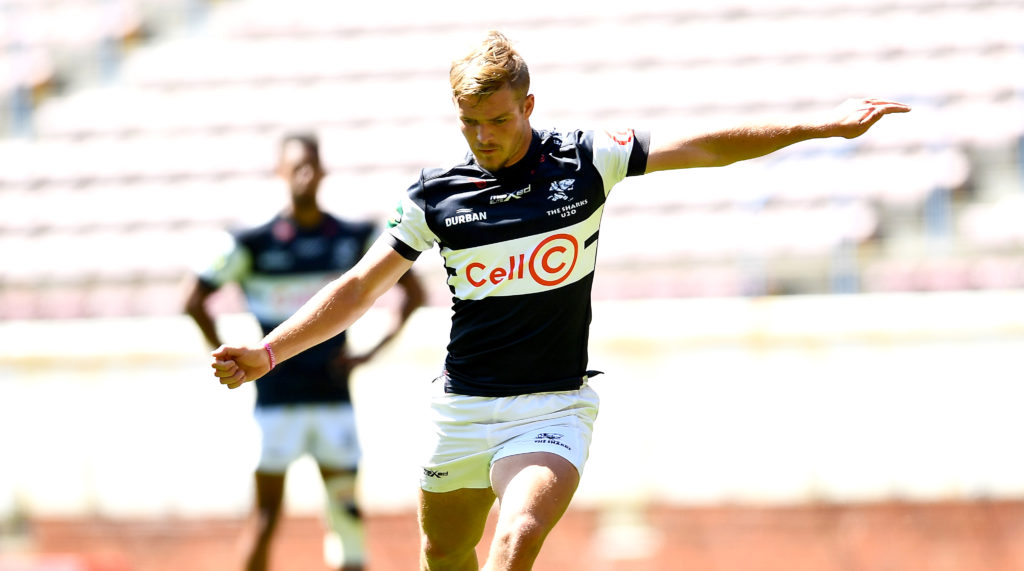 CAPE TOWN, SOUTH AFRICA - SEPTEMBER 24: Kian Meadon of the Sharks U20 during the SA Rugby U20 Cup match between DHL Western Province U20 and Cell C Sharks U20 at DHL Newlands on September 24, 2021 in Cape Town, South Africa.