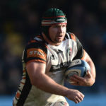 WORCESTER, ENGLAND - OCTOBER 16: Marco van Staden of Leicester Tigers runs with the ball during the Gallagher Premiership Rugby match between Worcester Warriors and Leicester Tigers at Sixways Stadium on October 16, 2021 in Worcester, England.